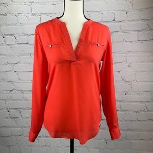 UEC Mossimo reddish orange Henley blouse XS